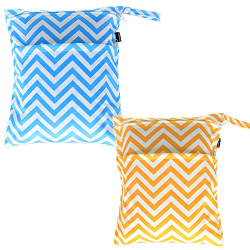 damero-2pcs-pack-cute-travel-baby-wet-and-dry-cloth-diaper-organiser-tote-bag-yellow-chevron-blue-ch