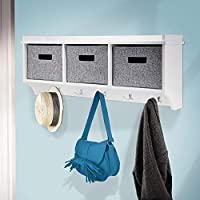 Taylor & Brown® Wooden Wall Mounted Coat Rack Display Storage Unit Shelf Modern Hooks Stand Hat with Fabric Baskets
