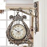 Wall Clock WTL Zweiseitige Wanduhr Creative Mute Tisch Wohnzimmer Uhr Quarzuhr Angel Harp Doppelseitige Wanduhr (Farbe : B)