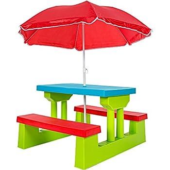 TecTake Ensemble de Jardin pour Enfant 2 bancs Parasol Table d\'activité