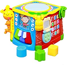 GoAppuGo 5-in-1 Musical Activity Drum Toy with flash Lights, Piano, Phone, Flip Book, Shapes Sorter for Kids, 1-2 Years