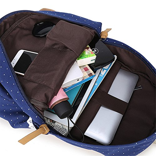 Wave-Punkt Lässige Leinwand Rucksack Reisetasche Laptop Tasche Schultasche Leichte Rucksäcke für Teen Junge Mädchen Schwarz blau