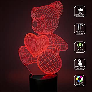 Nouveauté Amour Coeur Ours 3D Illusion Lampes 7 Couleurs Clignotant USB Alimenté Tactile Commutateur Chambre Led Veilleuses pour Filles Incroyable Cadeaux