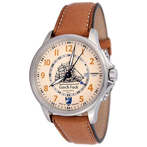 Junkers Men's Quartz Watch Limited Edition Gorch Fock No. 2 with Light Brown Leather Strap 3546 (1 Pair)
