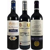 Le Wine Club Bordeaux Medailles Château Prince Larquey/Château Belair Coubet/Medoc de Bensse 75 cl, Boîte de 3 Grands Vins