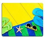 Mousepads Strandtuch Flip Flops und Sonnenbrille auf eine bunte gelb Holz-Deck mit der Presence Bild-ID 14815784von Liili Individuelle Mousepads fleckenresistenz Collector Kit Küche Tisch Top Schreibtisch Drink Individuelle fleckenresistenz Collector Kit Küche Tisch Top Schreibtisch