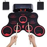 JKYQ Ricarica a Mano Kit Rullo di Tamburi convenienti Giocattoli Musicali elettronici Tamburo USB Durevole Incorporato Stereo Speaker Strumento Musicale Pieghevole