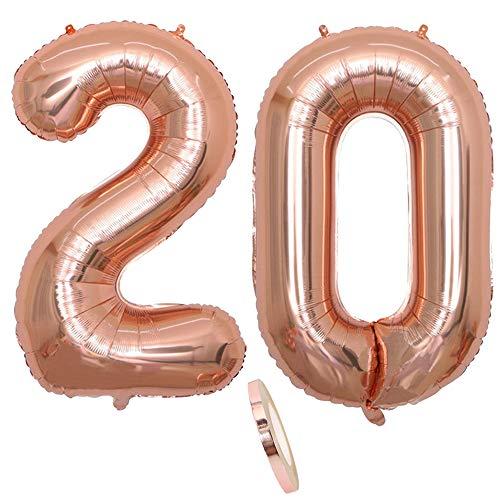"2 Luftballons Zahl 20, Nummer 20 Luftballon Rosegold Mädchen ,40\"" Aufblasbar Helium Folienballon Roségold Ballons Figuren ,Riesen Ballon für Geburtstag Party Dekoration, Abschlussball (xxxl 100cm)"