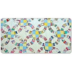 CafePress diseño de colcha de retales, multicolor–aluminio placa de licencia, frontal Placa de Licencia, tocador etiqueta