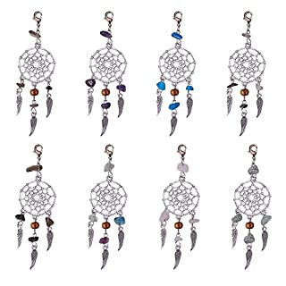 NBEADS 30 Pcs Alloy Dream Catcher Dreamcatcher Charms Pendants with Feathers Tassels Mixed Stone Beads Inlaid Retro Jewelry for Women Girls