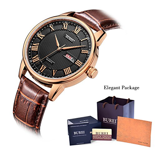Fathers-Day-Gifts-BUREI-Classic-Day-and-Date-Mens-Watches-in-Roman-Numerals-with-Brown-Leather-Strap-and-Black-Dial