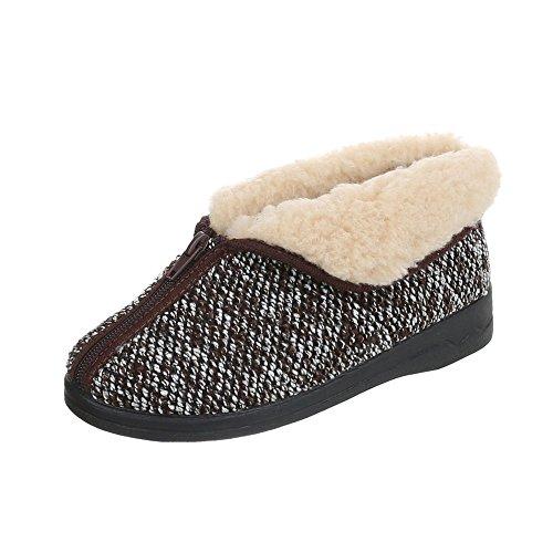 Ital-Design Hausschuhe Damenschuhe Pantoffeln Warm Gefütterte Reißverschluss Freizeitschuhe Braun