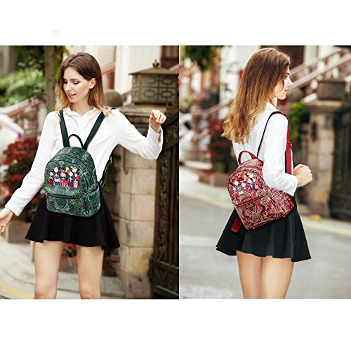 Women's Printing Backpacks Green Daypack for school and travel L014EU-Red-Small