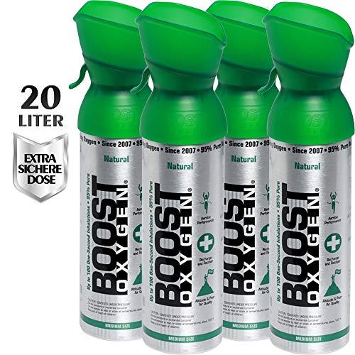 Reiner Sauerstoff in der Dose - 20 Liter NATÜRLICHER, 95% reiner Sauerstoff in zwei transportablen 5 Liter Sauerstoffdosen für mehr als 400 Inhalationen.