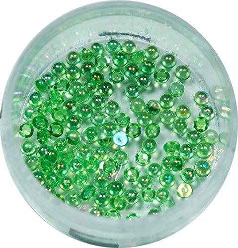 RM Beautynails Demi-perles 1,2 mm Vert rond strass paillettes env. 50 pièces pour Nail Art et Manucure Design