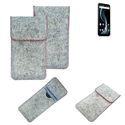 K-S-Trade® Filz Schutz Hülle Für -Allview X4 Soul Infinity Plus- Schutzhülle Filztasche Pouch Tasche Case Sleeve Handyhülle Filzhülle Hellgrau Roter Rand