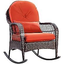 COSTWAY Rattan Armchair Wicker Rocking Sofa Relaxing Lounge Chair Metal Frame with Lumbar Pillow & Cushion, Garden Patio Porch Lawn Deck Backyard Furniture