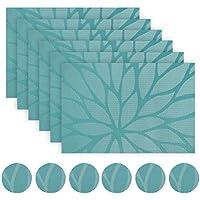WaaHome manteles individuales PVC Set de 6 salvamanteles de vinilo (A-Azul)