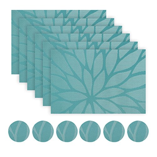 WaaHome sets de table Lot de 6 PVC en vinyle doux et tissé pour la maison/la cuisine (A-Bleu)