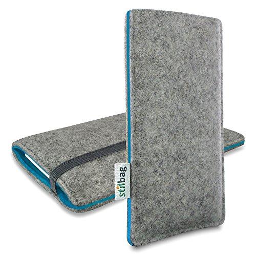 Stilbag Filztasche 'FINN' für Apple iPhone 7 plus - Farbe: hellgrau/apfelgrün hellgrau/azur