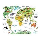 Wandaro Wandtattoo Weltkarte Tiere I 95 x 73 cm I Kinderzimmer Atlas Karte Landkarte Globus Welt Vinyl selbstklebend Aufkleber Wandaufkleber Wandsticker W3321