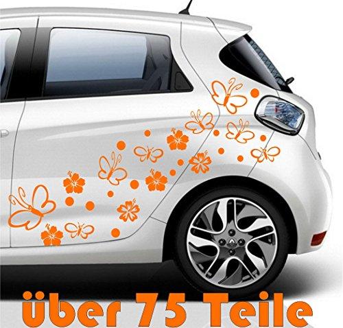 """75 """"ibisco fiore Hibiscus hibisco flores""""Flower Butterfly,orange 10-12 cm Sticker auto-adesivo , finestre, sticker porta,bagno, cucina,motocicletta,Tiling, Tuning Sticker,Adesivo Murale,Auto"""