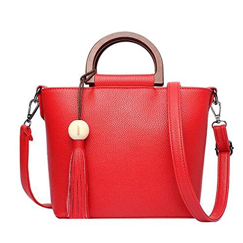 WanYang Donna Borsa Handbag A Spalla Righe In PU Cuoio Cerniera Design Handbag Shoulder Bag Tote Bag Rerde