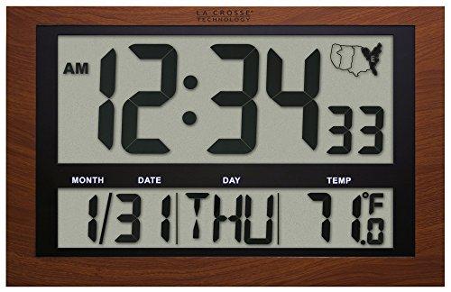 La Crosse Technology 513-1211A Jumbo Digital Atomic Temperatur Wanduhr, rot Holz