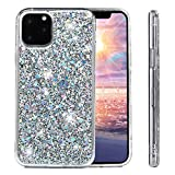 iPhone 11 Pro Max 6.5 inch Case Shiny Glitter for Women Girls Bling Sparkle Shockproof Plastic Hard Back Cover Slim Soft TPU Silicone Bumper Protective Skin for iPhone 11 Pro Max 6.5 inch Silver