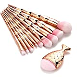 Pinceaux de Maquillage,Bekoard 11PCS Make Up Foundation Eyebrow Eyeliner Blush Cosmetic Concealer Brushes (Or)