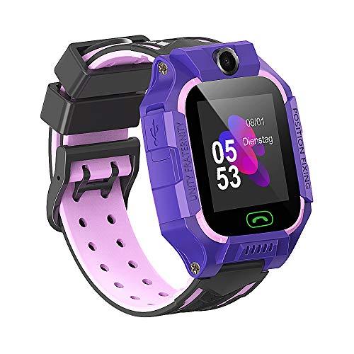 Kinder Smartwatch, Touchscreen Telefon Uhr Kids Smart Watch für Jungen und Mädchen mit LBS SOS Voice Chat Taschenlampe Wecker Digitalkamera Game, Kompatibel mit iOS und Android (Lila)