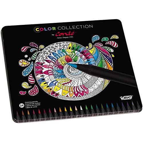 Conté Lápices de colores - colores Surtidos, Estuche Metálico de 24 unidades