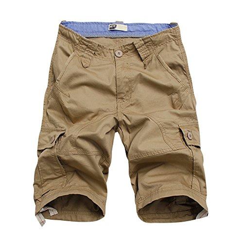 BicRad Herren Cargo Shorts Baumwolle Khaki 32 (Fit Khaki)