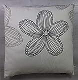VonKnaub Kissenhülle Kissenbezug Dekokissen Sofakissen Blume Geschenk Idee 100% Baumwolle 45/45 cm Weiß/Grau
