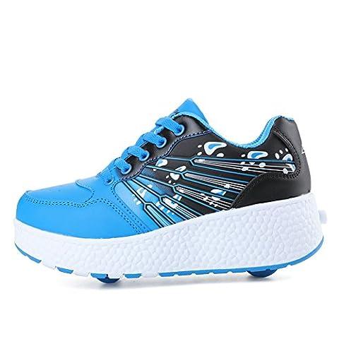 Größe 12–8,5Leder Rad Mädchen Jungen Schuhe Rollschuhe Auto Trainer Sneakers (Little Kids/Big Kinder/Erwachsene), blau - blau - Größe: 40EU