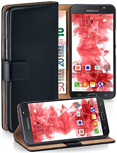 moex® Booklet mit Flip Funktion [360 Grad Voll-Schutz] für Samsung Galaxy J7 (2016) | Geldfach und Kartenfach + Stand-Funktion und Magnet-Verschluss, Schwarz
