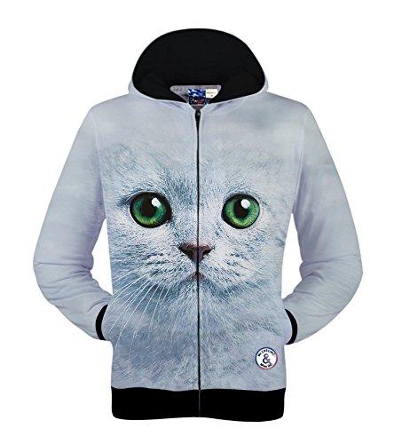 KLXEB 3D Dreidimensionale Drucken Star Jersey Männer Männer Kleidung Reißverschluss Muster Hoodie Fell, Xl, Die Green Eyed Cat (Eyed Green Katze)