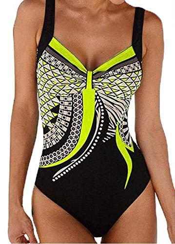 Ajpguot Costume da Bagno a Fascia delle Donna Push Up Costume Intero Stampa Fiore Swimwear Senza Schienale Taglie Forti