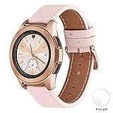 WFEAGL Compatible avec Bracelet Samsung Watch 42mm,20mm Bande en Cuir à dégagement Rapide, Grain supérieur Compatible avec Samsung Galaxy & Gear S4,S3,S2,S1 (20mm, Sable Rose+Boucle Or Square)