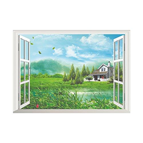 Winhappyhome Freizeit HüTte Fake Fenster Wand Kunst Aufkleber Für Schlafzimmer Wohnzimmer Kaffee Shop Hintergrund Abnehmbare Dekor Decals