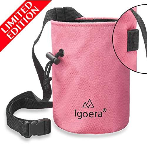 Igoera Chalkbag, Magnesiabeutel Goian (rosa) | zum Klettern und Bouldern | inklusive Befestigungsgurt | Boulderbag/Magnesiatasche ist aus sehr stabilen Material und staubdicht