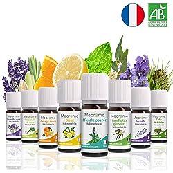 8 x 10 ml Huiles essentielles BIO + guide d'aromathérapie ♦ AB HEBBD - HECT - Qualité et Fabrication FRANCAISE ♦ coffret kit pour aromathérapie & diffuseur - idée cadeau
