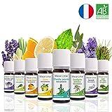 8 x 10 ml Huiles essentielles BIO + guide d'aromathérapie  AB HEBBD - HECT - Qualité et Fabrication FRANCAISE  coffret kit pour aromathérapie & diffuseur - idée cadeau