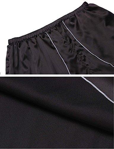 Keelied Damen Nachtwäsche Negligee Babydoll Shorty aus Satinqualität mit Spitze Zweiteilige Reizwäsche Lingerie mit Shorts Schwarz