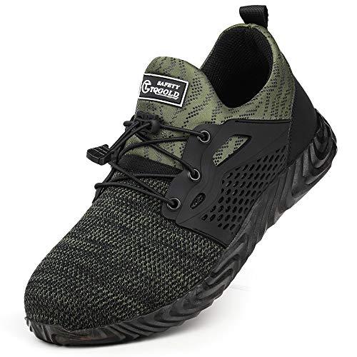 TQGOLD Scarpe Antinfortunistica Uomo Donna S3 Estive Scarpe da Lavoro con Punta in Acciaio Comode Sneaker Traspiranti(Verde,Taglia 42)