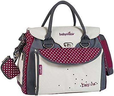 Babymoov Baby Chic - Bolso maternal cambiador con accesorios, color blanco e hibiscus