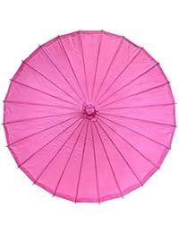 Lyuboov Sombrilla de bambú del estilo chino Parasol del paraguas Paraguas de la antigüedad china (Hot Pink)