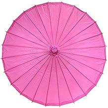 Ppower Paraguas estilo japonés chino bambú Sombrilla Paraguas de danza (Rosa oscuro)