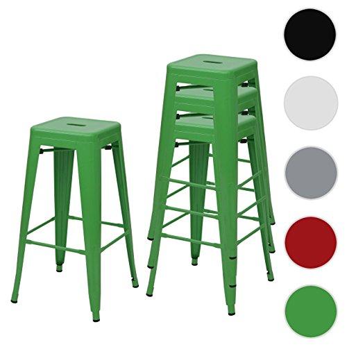 4x tabouret de bar HWC-A73, chaise de comptoir, métal, empilable, design industriel ~ vert