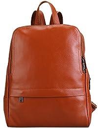 Damero de cuero genuino mochila casual, monedero de las mujeres de escolar